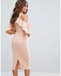 Girl In Mind - Natural Halterneck Frill Cold Shoulder Midi Dress - Lyst