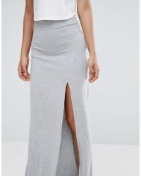 ASOS - Gray Maxi Skirt With Split Front - Lyst