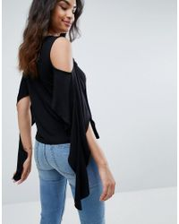 ASOS - Black Asos Top With Cold Shoulder And Dramatic Ruffle - Lyst