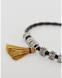 ASOS - Black Bracelet With Tassel for Men - Lyst