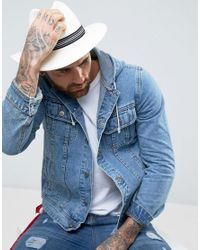 ASOS - Natural Straw Panama Hat With Contrast Band for Men - Lyst