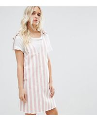 403074f51c Lyst - ASOS Denim Dress In Pink And White Stripe With Tie Strap