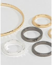 ASOS - Multicolor Bangle And Ring Pack With Hammered Finish In Mixed Metals for Men - Lyst