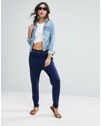 ASOS - Blue Shirred Waist Peg Pants - Lyst