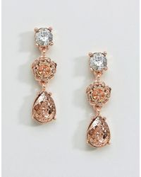 Coast - Pink Floral Rose Gold Earrings - Lyst