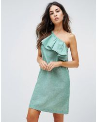 c52e32b1674 Warehouse Ruffle One Shoulder Dress in Green - Lyst