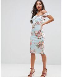ASOS - Blue Floral Fold Detail Bardot Scuba Pencil Dress - Lyst