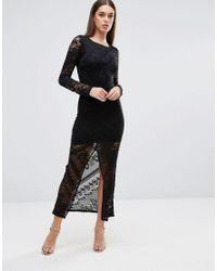 TFNC London | Black Lace Maxi Dress With Front Slit | Lyst