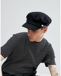 ASOS - Asos Mariner Cap In Black With Rope Detail for Men - Lyst