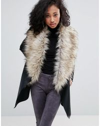 Urban Bliss | Black Waterfall Coat With Wide Faux Fur Collar | Lyst