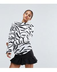 ASOS - Black Top With Extreme Sleeve In Zebra Print - Lyst