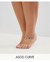 ASOS - Metallic Exclusive Pack Of 2 Pretty Drop Anklets - Lyst