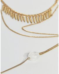 ASOS - Metallic Spike And Stone Multirow Necklace - Lyst