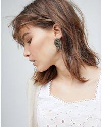ASOS - Metallic Engraved Disc And Spike Earrings - Lyst
