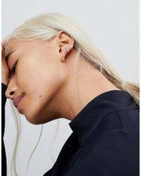 ASOS - Metallic Asos Sterling Silver Faceted Hoop Earrings - Lyst