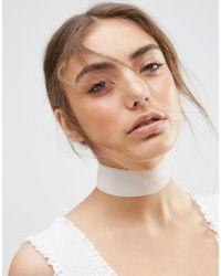 ASOS | Metallic Wide Velvet Choker Necklace | Lyst