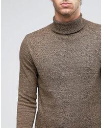ASOS - Brown Longline Roll Neck Jumper In Twist Cotton for Men - Lyst