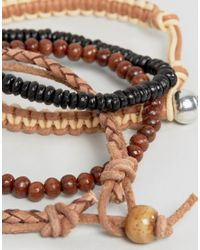 ASOS - Multicolor Bead And Braid Leather Bracelet Pack for Men - Lyst