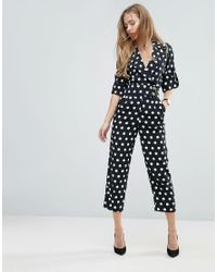 1c7752e380d ASOS Soft Tux Jumpsuit In Spot Print in Black - Lyst