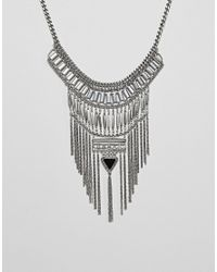 ASOS - Metallic Design Statement Stone And Chain Fringe Necklace - Lyst