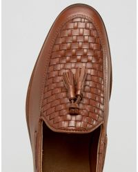 ASOS - Brown Loafers In Tan Leather With Woven Detail for Men - Lyst