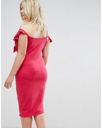 ASOS - Pink Ruffle Asymmetric Bodycon Dress - Lyst