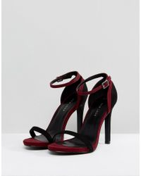 New Look - Black Two Part Contrast Heeled Sandal - Lyst