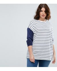 ASOS | White Top In Stripe With Colourblock Sleeve | Lyst