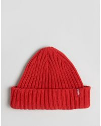 Levi s Levi s Ribbed Beanie In Red in Red for Men - Lyst 9022f8d2c2af