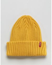 6ced7e05a1e Levi s Levi s Ribbed Beanie In Yellow in Yellow for Men - Lyst