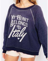 Wildfox - Blue My Heart Belongs To Sweatshirt - Lyst