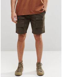 ASOS | Green Slim Cargo Shorts In Mid Length In Khaki for Men | Lyst
