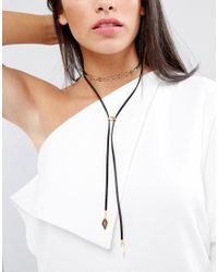 Vanessa Mooney - Black Leather Look Bolo Choker Necklace With Gold Plating Chain And Bead Detailing - Lyst