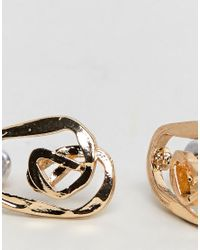 ASOS - Metallic Mini Swirl Stud Earrings - Lyst