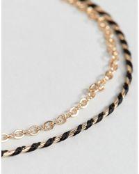 ASOS - Metallic Double Row Fine Chain Tassel Bracelet - Lyst