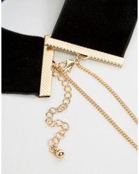 ASOS - Metallic Night Velvet And Pearl Chain Multirow Choker Necklace - Lyst