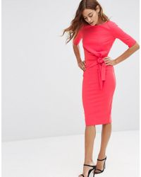 ASOS | Pink Crepe Pencil Dress With Knot Detail | Lyst