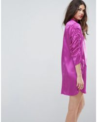 ASOS - Purple Mini Shift Dress With Tie Detail Sleeves - Lyst
