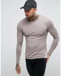 ASOS - Brown Muscle Long Sleeve T-shirt In Grey for Men - Lyst