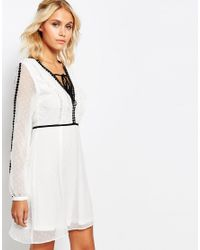Fashion Union | Black Smock V Neck Dress With Sheer Sleeves And Contrast Trimmings | Lyst