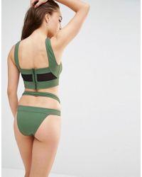 ASOS - Green Fuller Bust Exclusive Mesh Insert Zip Back Crop Bikini Top Dd-f - Lyst