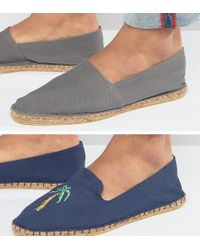 ASOS - Blue 2 Pack Espadrilles In Navy And Grey With Palm Tree Print Save for Men - Lyst