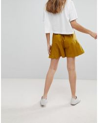 ASOS - Green Pleated Culotte Shorts - Lyst