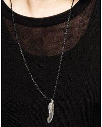 ASOS - Black Rope Necklace With Feathers for Men - Lyst
