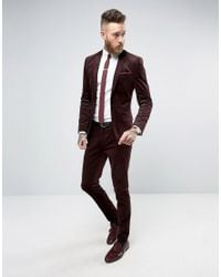 Only & Sons - Red Super Skinny Suit Trouser In Cord for Men - Lyst