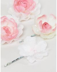 ASOS - Pink Design Pack Of 4 Blush Floral Hair Clips - Lyst