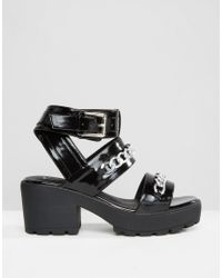 Truffle Collection - Natural Chunky Heel Buckle Sandal - Lyst