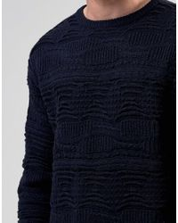 Bellfield - Blue 3d Textured Knitted Jumper for Men - Lyst