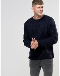 Bellfield | Blue 3d Textured Knitted Jumper for Men | Lyst
