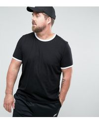 ASOS - Black Plus T-shirt With Contrast Ringer for Men - Lyst